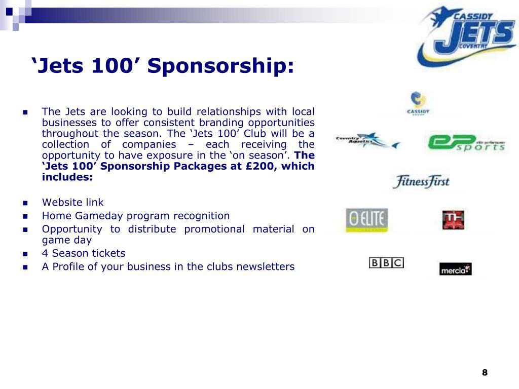 'Jets 100' Sponsorship: