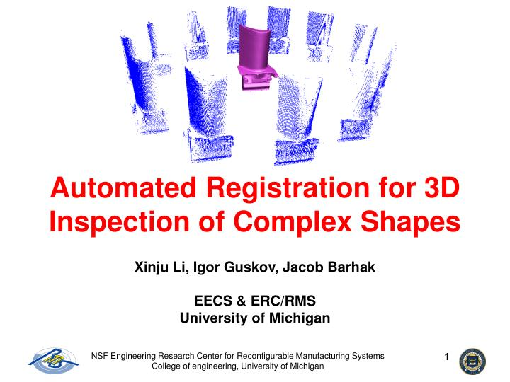 Automated registration for 3d inspection of complex shapes