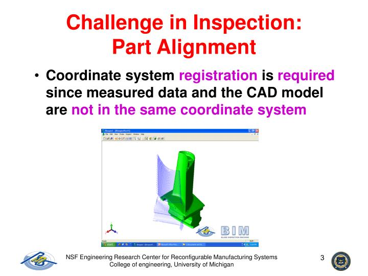 Challenge in inspection part alignment