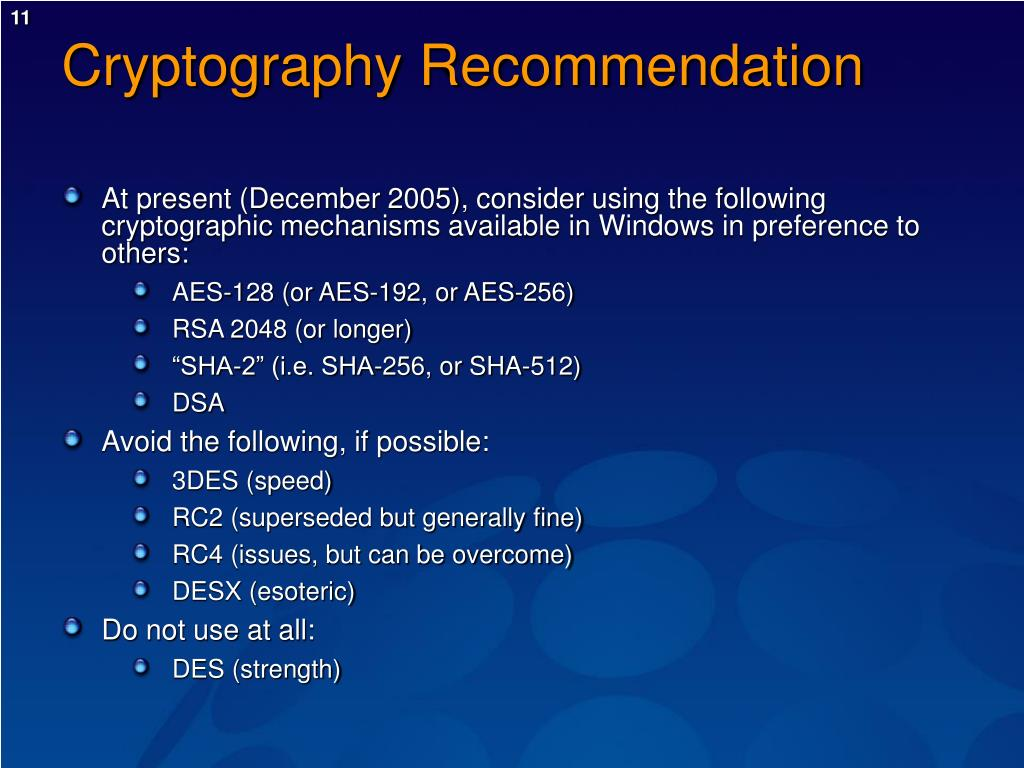 Cryptography Recommendation