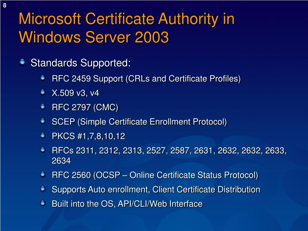 Microsoft Certificate Authority in Windows Server 2003