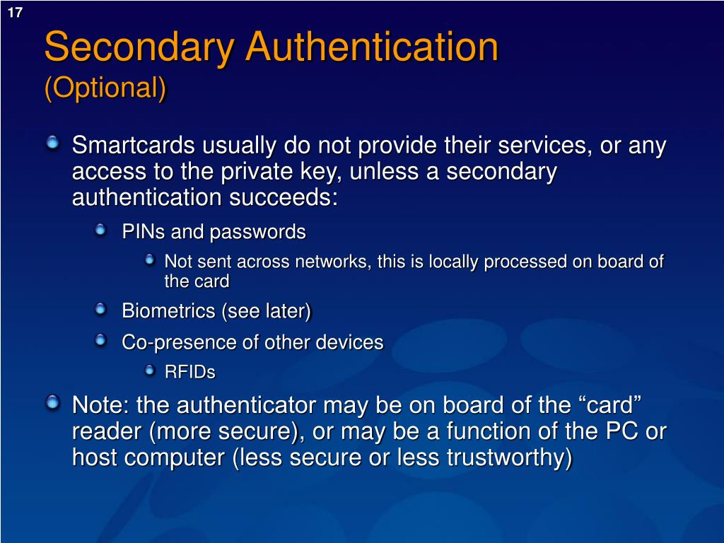 Secondary Authentication