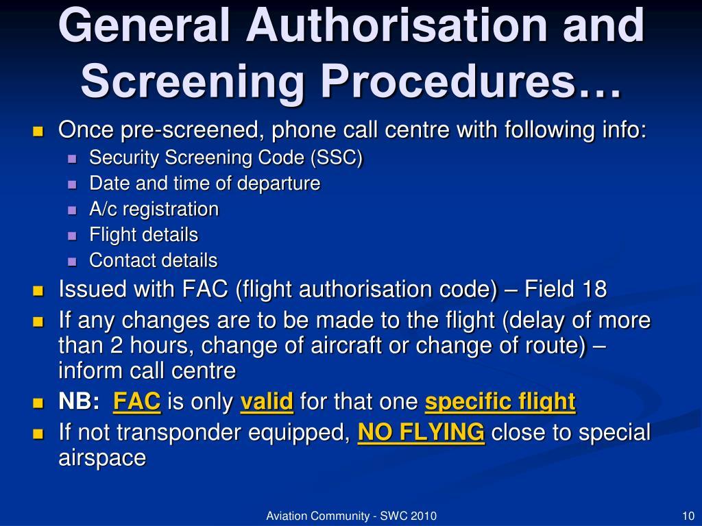 General Authorisation and Screening Procedures…