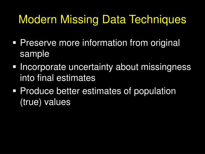 Modern Missing Data Techniques