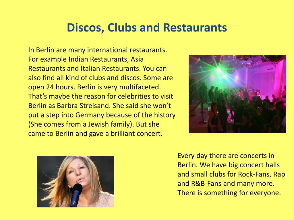 Discos, Clubs and Restaurants
