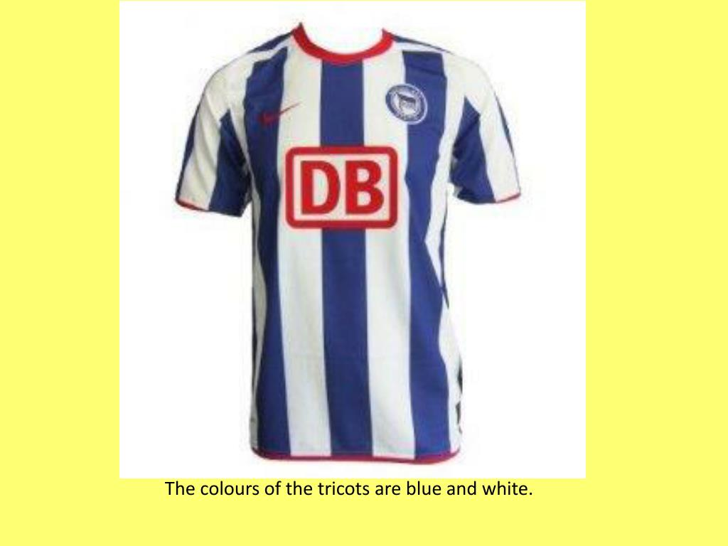 The colours of the tricots are blue and white.