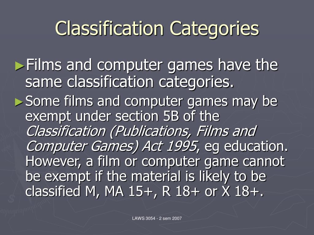 Classification Categories