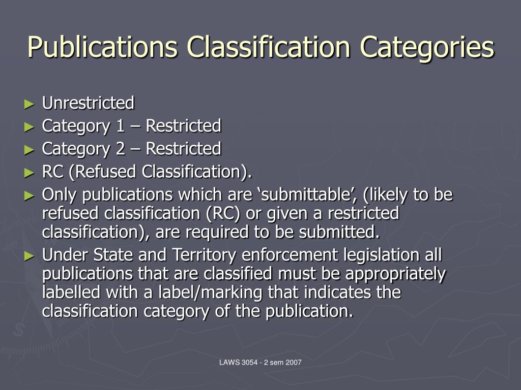 Publications Classification Categories