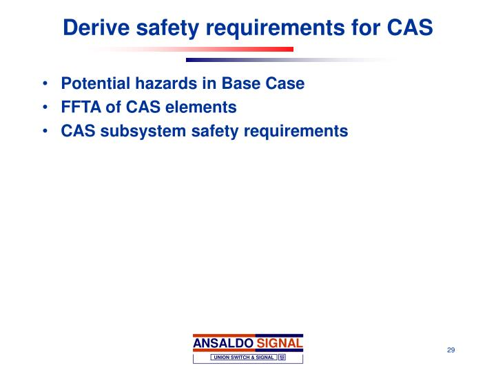 Derive safety requirements for CAS