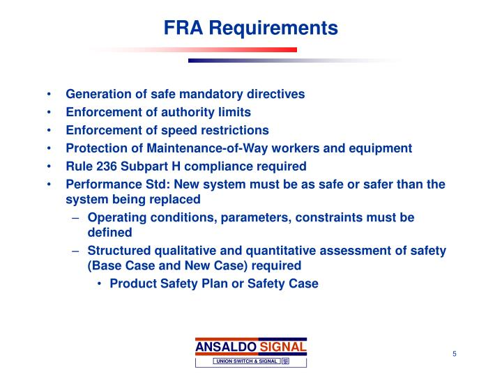 FRA Requirements