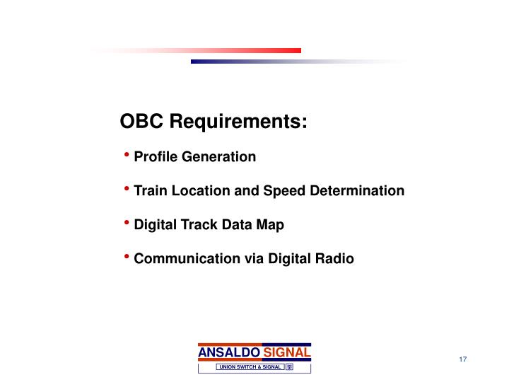 OBC Requirements: