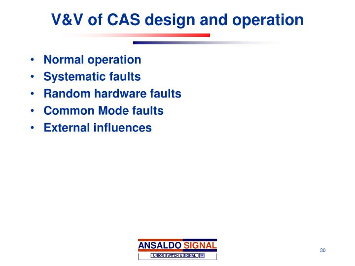 V&V of CAS design and operation