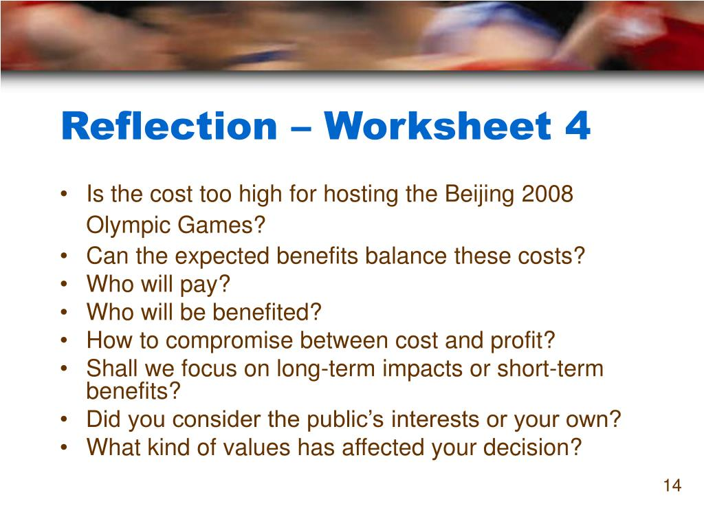 Reflection – Worksheet 4