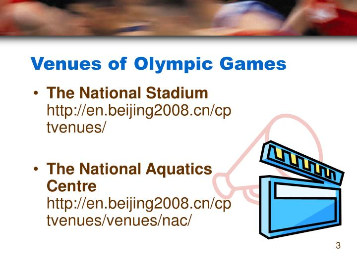 Venues of olympic games