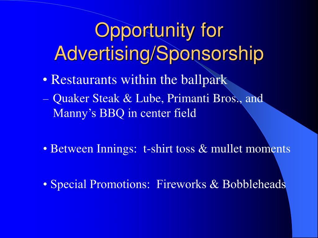Opportunity for Advertising/Sponsorship