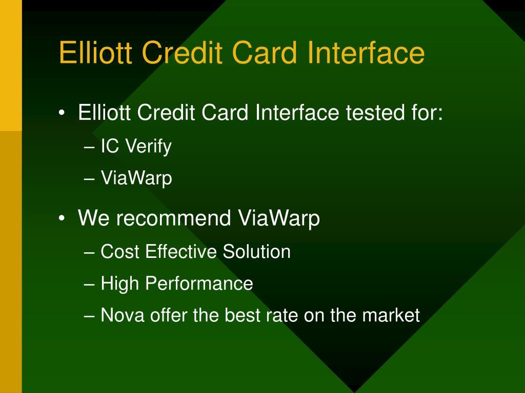 Elliott Credit Card Interface