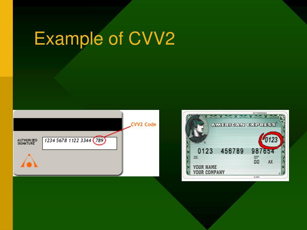 Example of CVV2
