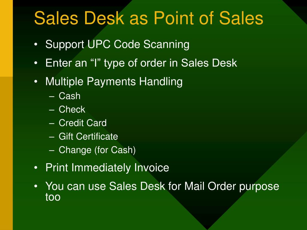 Sales Desk as Point of Sales