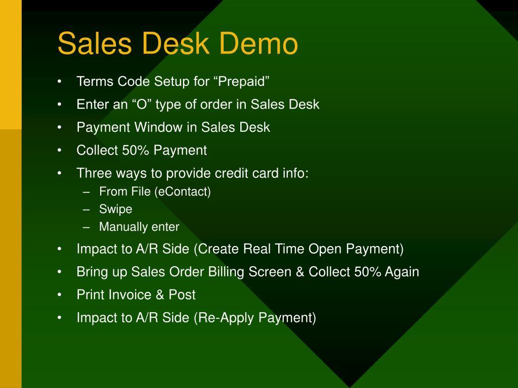 Sales Desk Demo