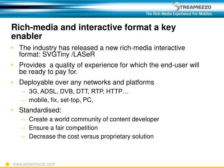 Rich-media and interactive format a key enabler