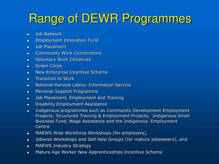 Range of DEWR Programmes