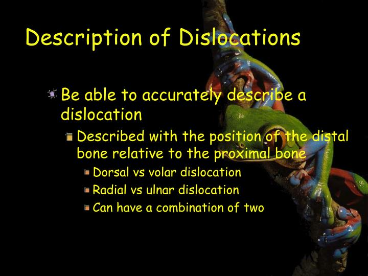 Description of Dislocations