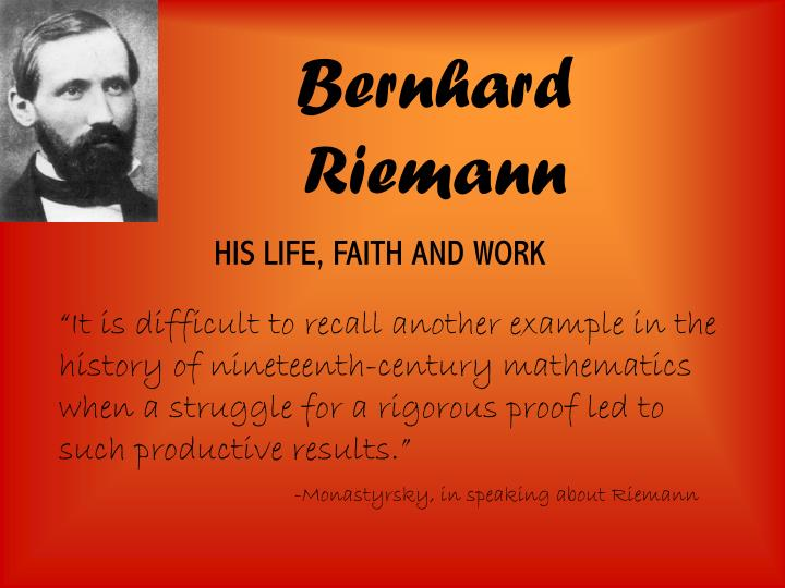 riemann dissertation Abstract in this thesis, we are interested in montgomery's pair correlation conjecture which is about the distribution ofthe spacings between consecutive zeros of the riemann zeta function.