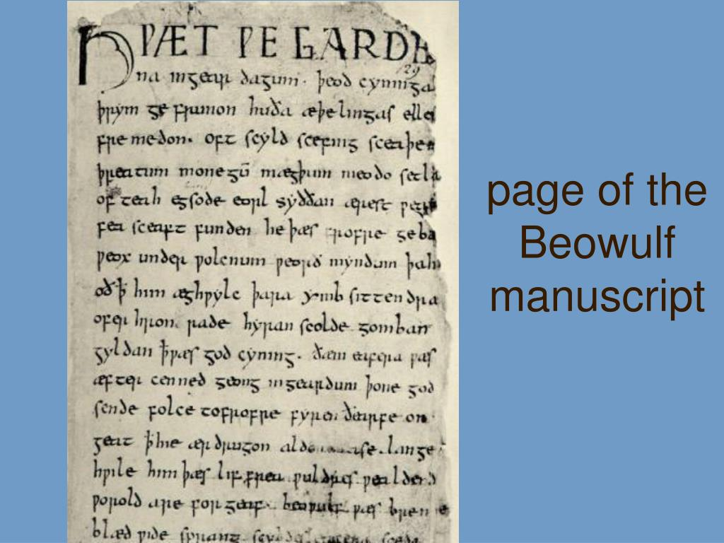 page of the Beowulf manuscript