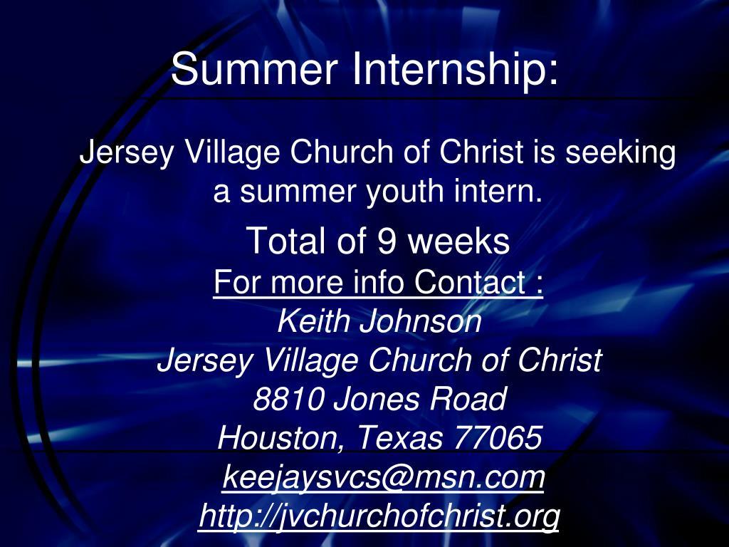 Summer Internship: