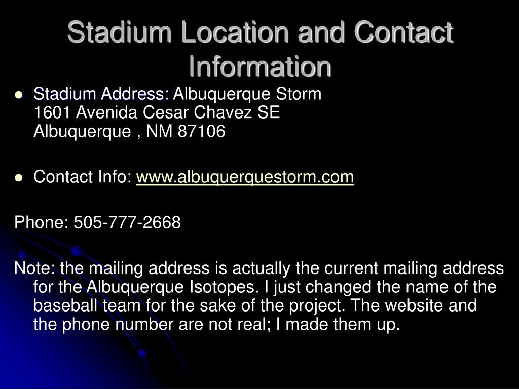 Stadium Location and Contact Information