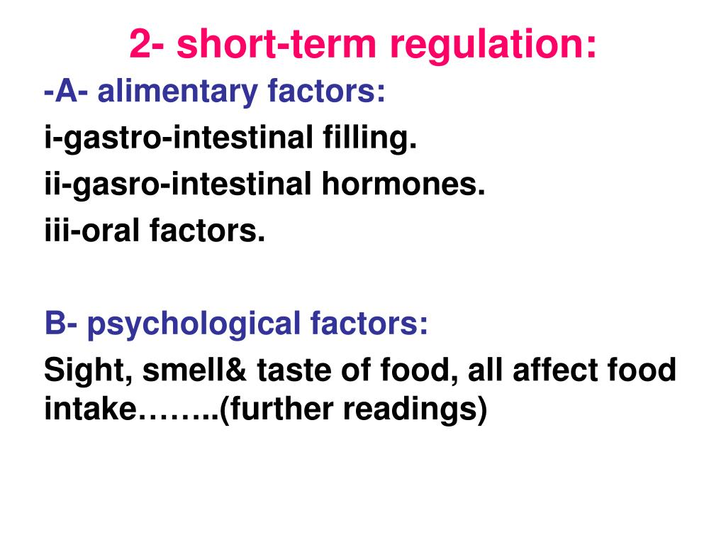 2- short-term regulation:
