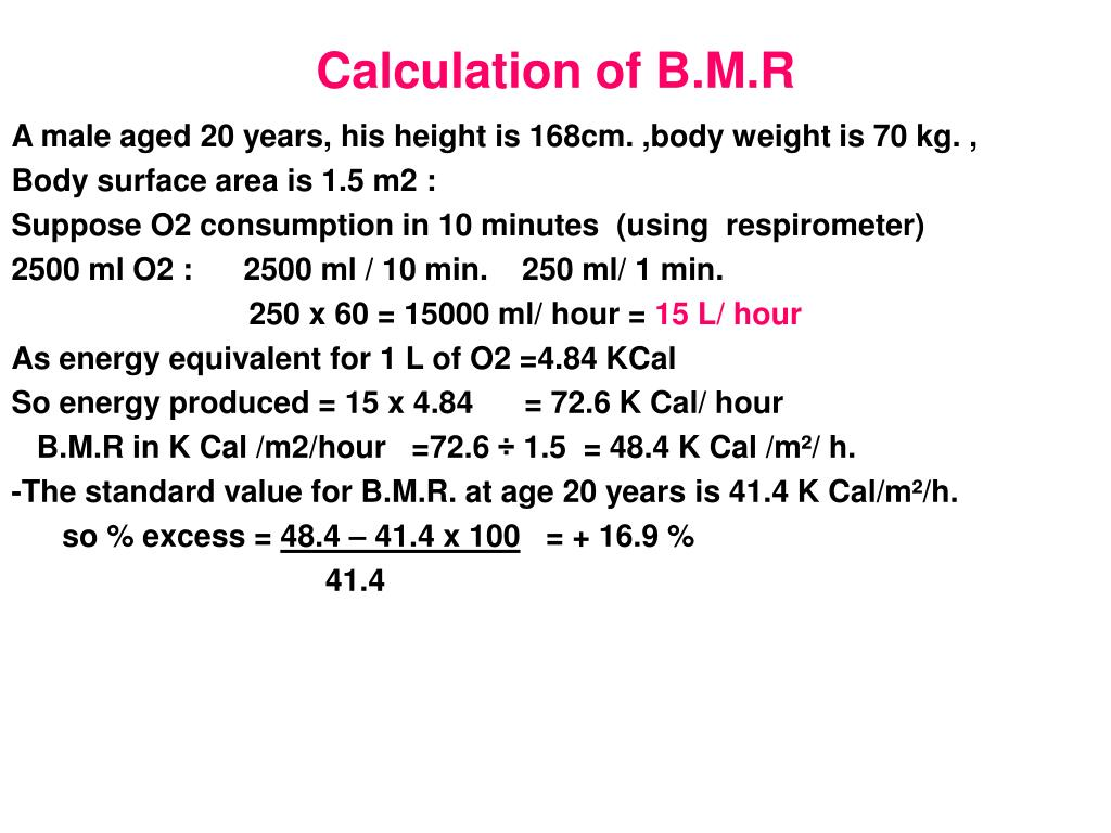 Calculation of B.M.R