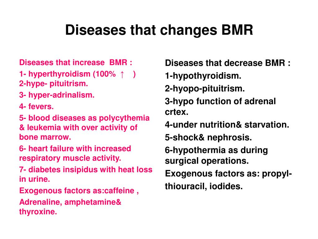 Diseases that increase  BMR :