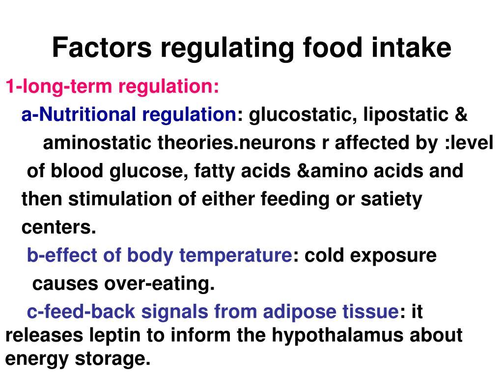 Factors regulating food intake
