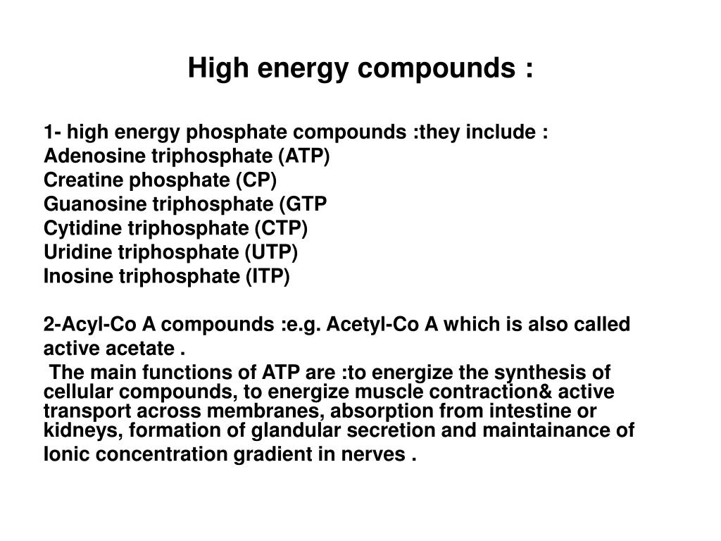 High energy compounds :