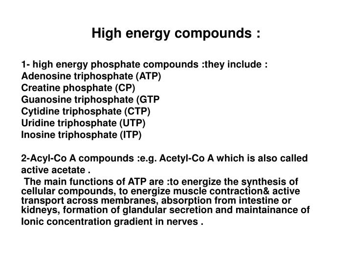 High energy compounds