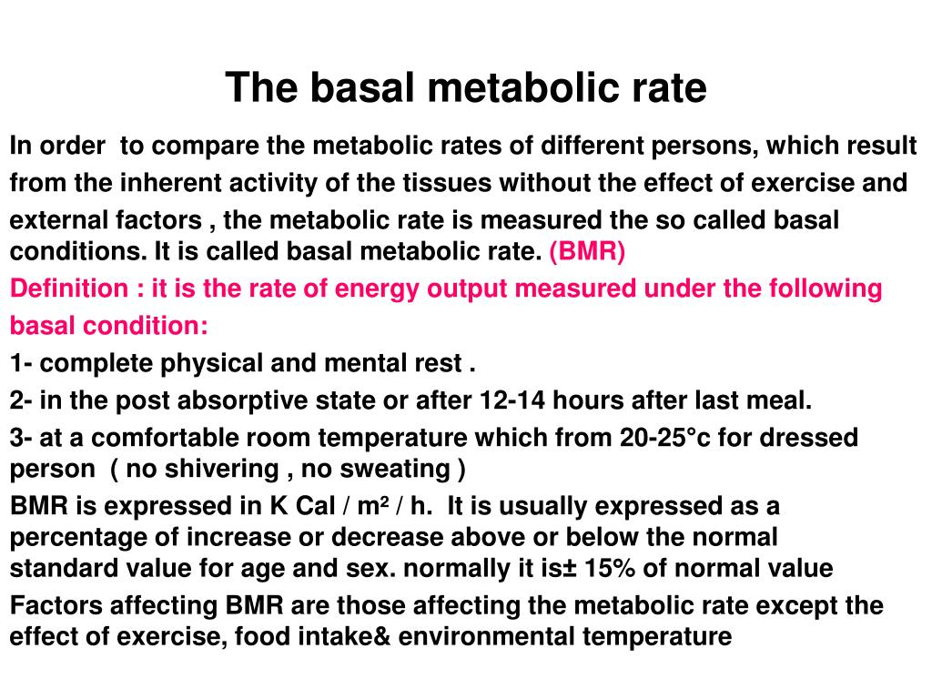 The basal metabolic rate