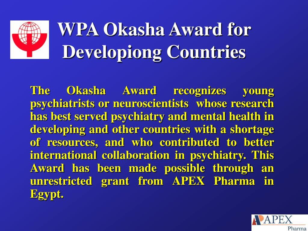 WPA Okasha Award for Developiong Countries