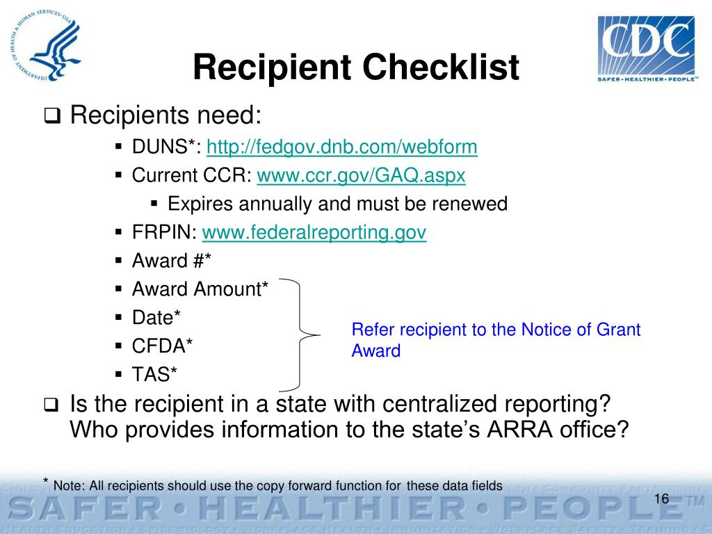 Recipient Checklist