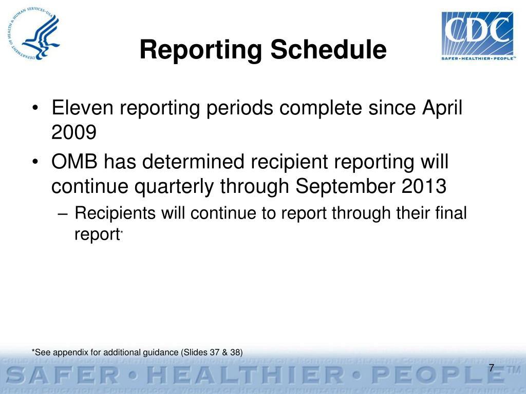 Reporting Schedule