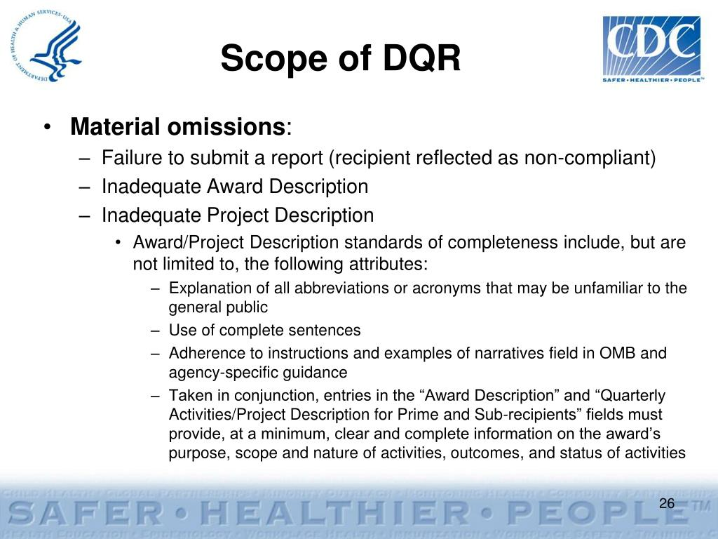 Scope of DQR