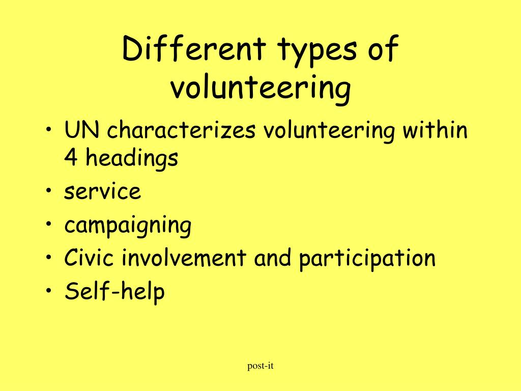 Different types of volunteering