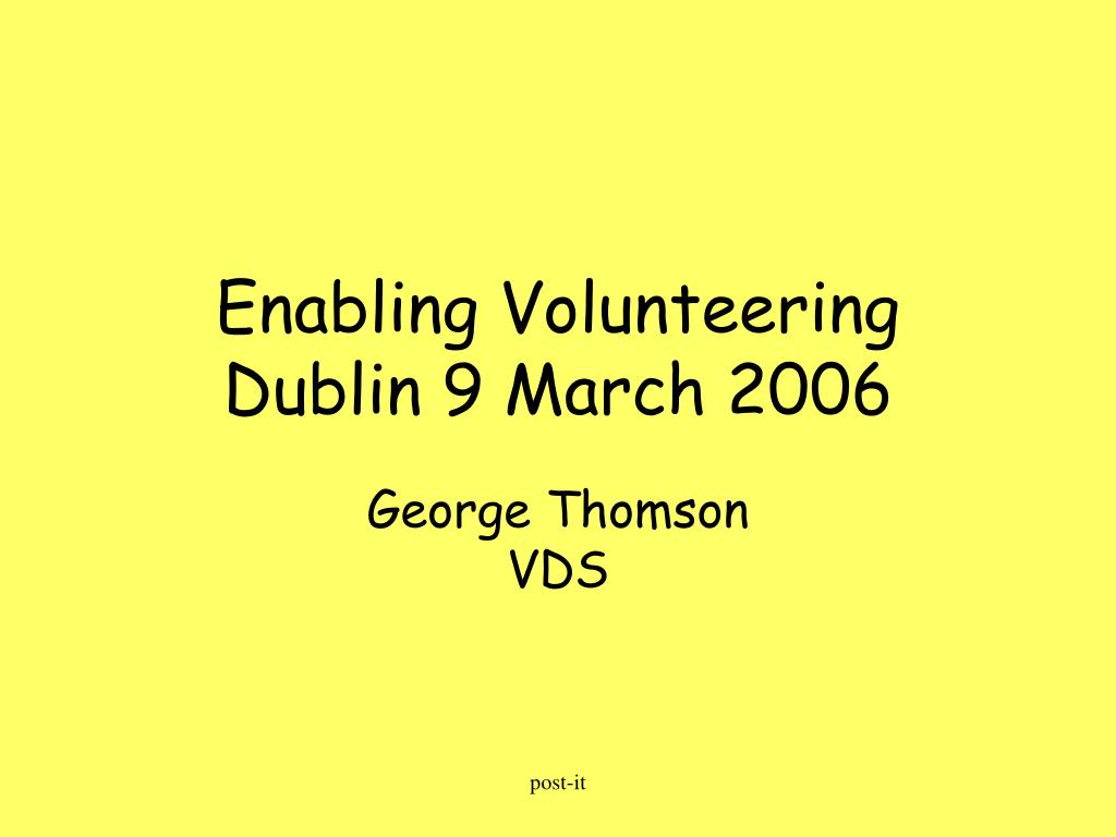 Enabling Volunteering
