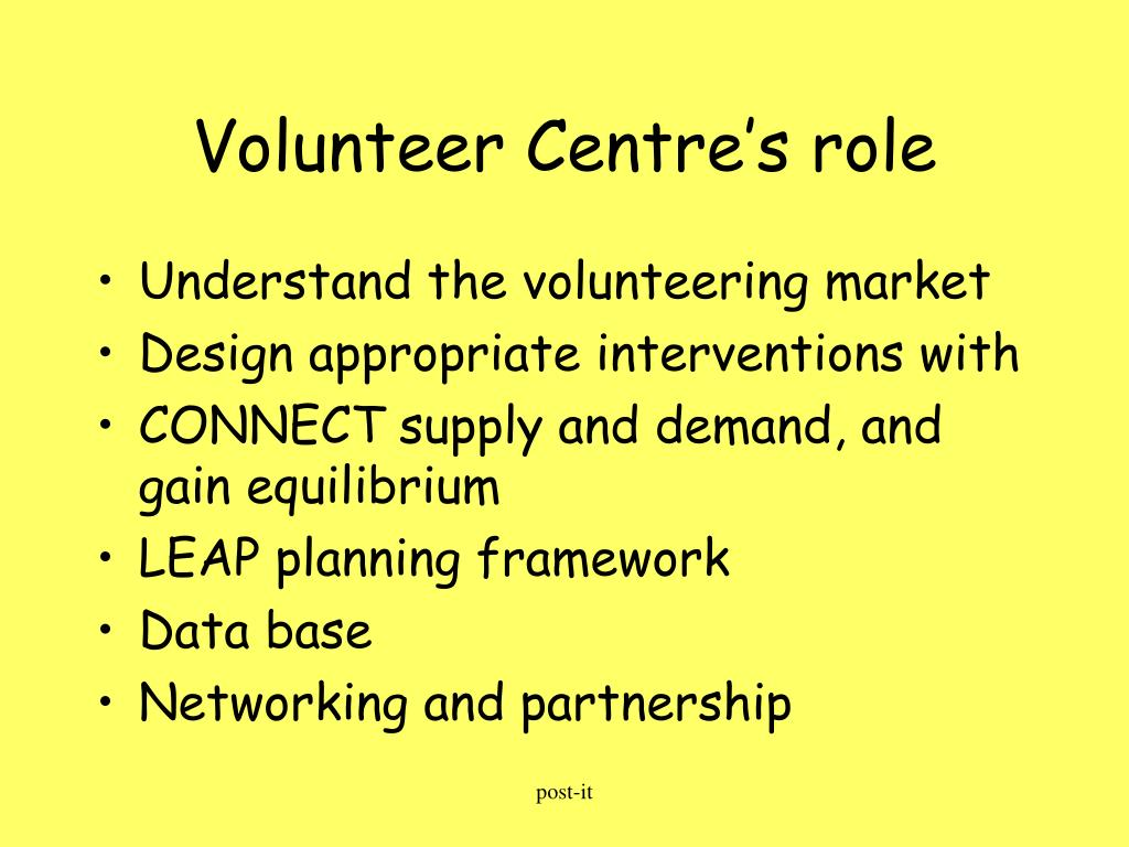 Volunteer Centre's role