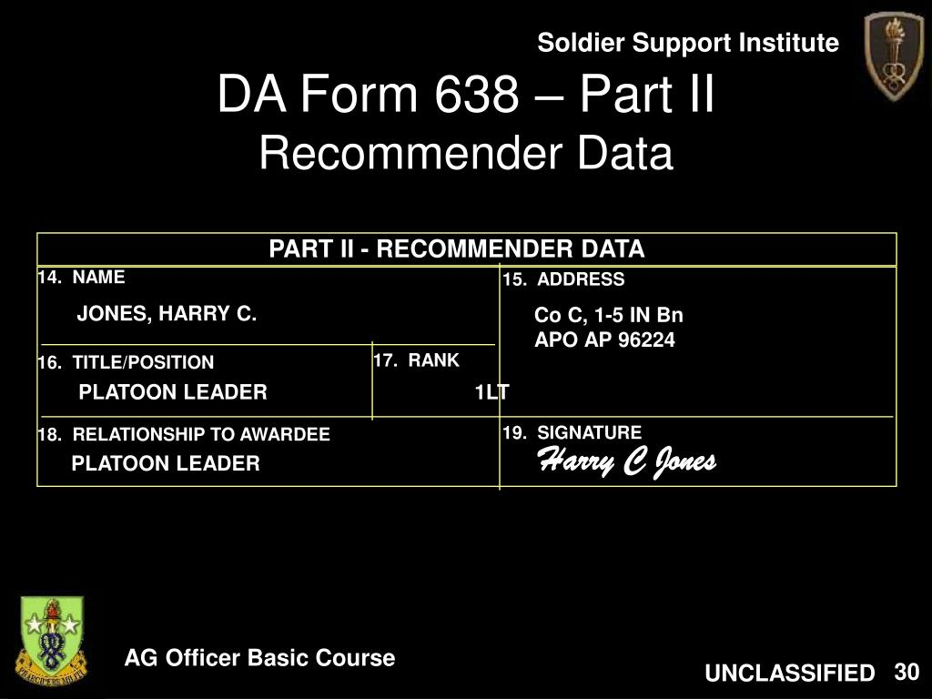da-form-638-part-ii-recommender-data-l Army Da Form Proposed Citation Example on internal citation examples, army plaque citation examples, arcom citation examples,