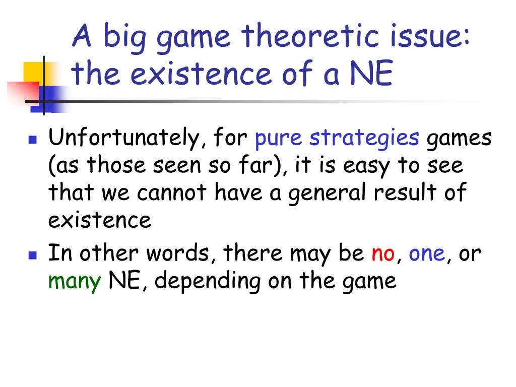 A big game theoretic issue: the existence of a NE