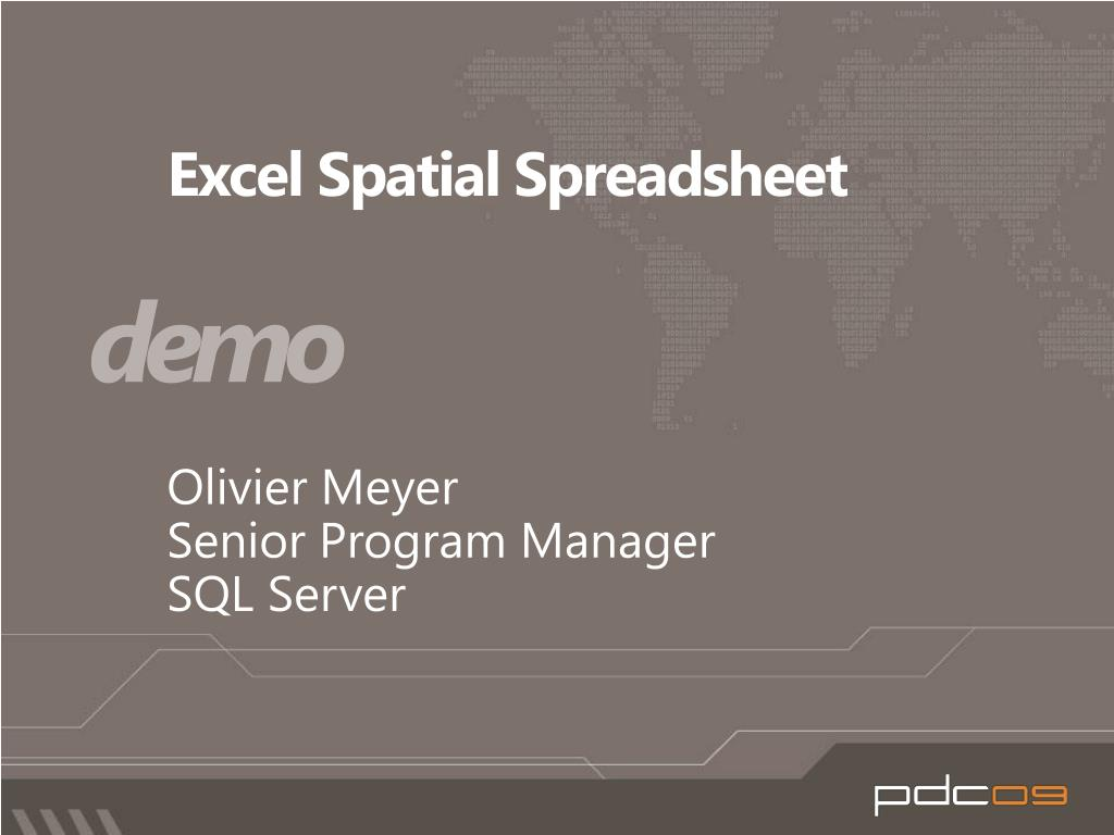Excel Spatial Spreadsheet