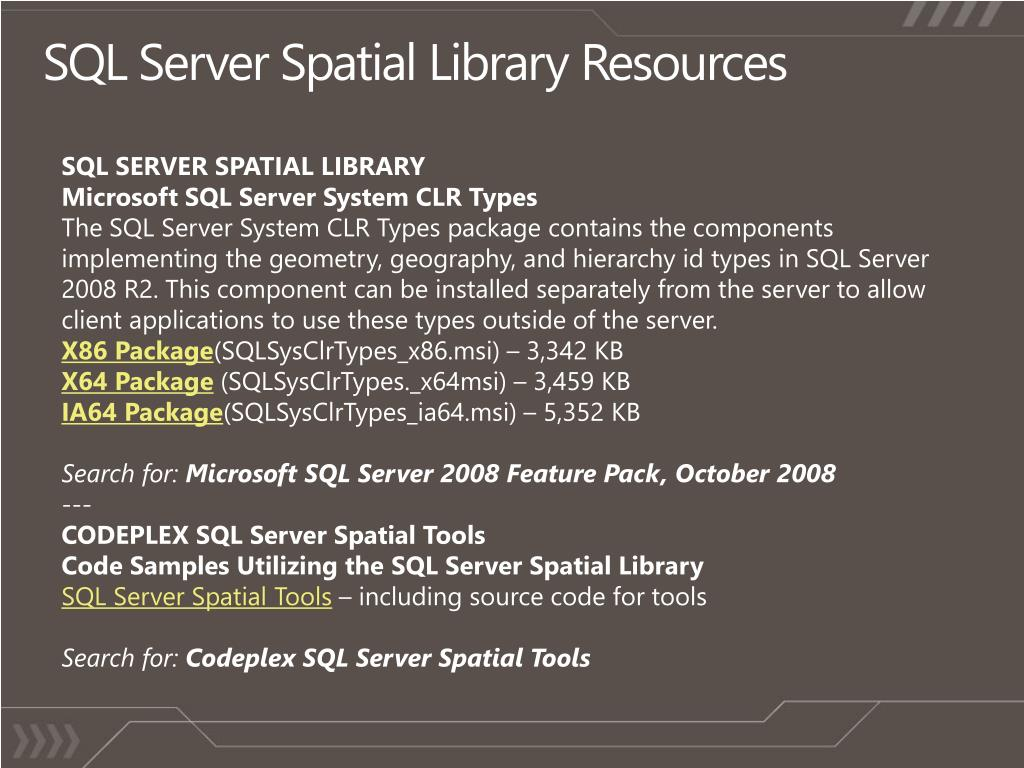 SQL Server Spatial Library Resources