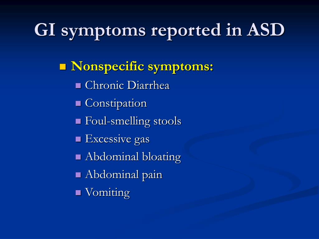 GI symptoms reported in ASD