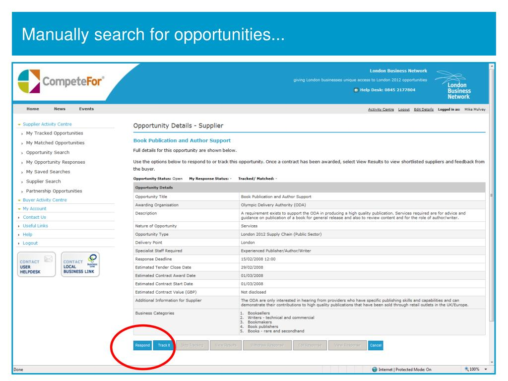 Manually search for opportunities...